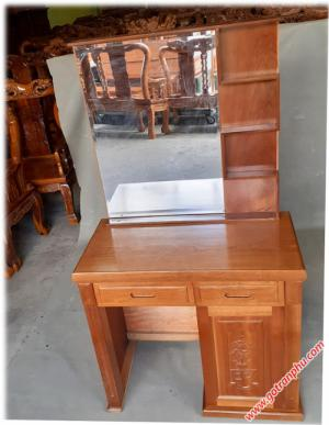 Bàn trang điểm đẹp gỗ xoan đào 80cm gương chữ nhật