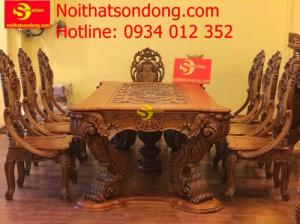 Bộ bàn ăn gõ đỏ tân cổ điển 8 ghế BBA21