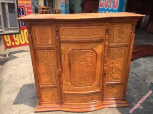 Tủ thờ đẹp gỗ căm gõ 6 chân chạm Phúc Lộc Thọ