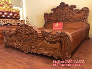 Giường Ngủ cổ điển châu âu gỗ gõ đỏ 1,6m x 2m