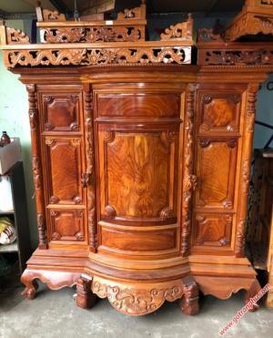 Tủ thờ đẹp gỗ gõ đỏ Lào