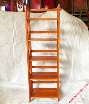 Kệ sách đứng gỗ cao su 5 tầng màu nâu ngang 50cm