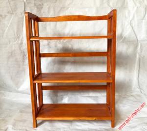 Kệ sách đứng gỗ cao su 3 tầng màu nâu ngang 65cm