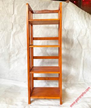 Kệ sách đứng gỗ cao su 4 tầng màu nâu ngang 40cm
