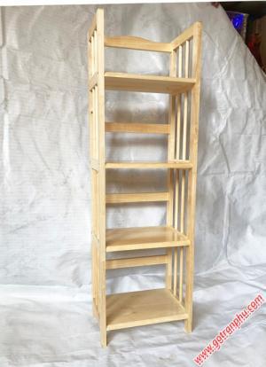 Kệ sách đứng gỗ cao su 4 tầng màu gỗ tự nhiên 40cm