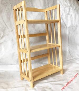 Kệ sách đẹp gỗ cao su 3 tầng màu gỗ tự nhiên ngang 50cm