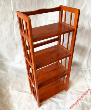 Kệ sách đứng gỗ cao su 4 tầng màu nâu ngang 50cm