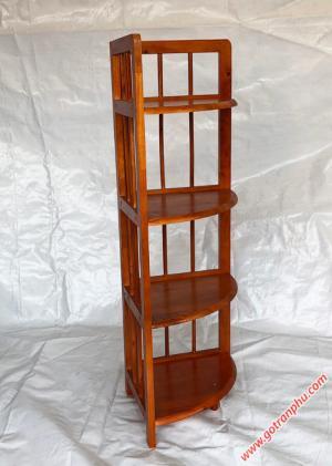 Kệ góc đựng sách gỗ cao su 4 tầng màu nâu