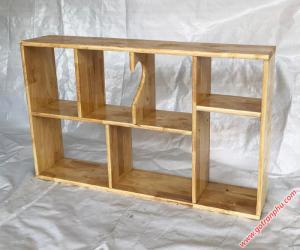 Kệ giá sách treo tường gỗ cao su màu gỗ tự nhiên