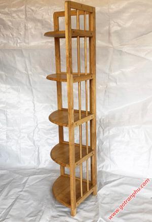 Kệ góc đựng sách gỗ cao su 5 tầng màu gỗ tự nhiên