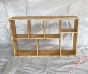 Kệ sách trang trí gỗ cao su màu gỗ tự nhiên 80cm