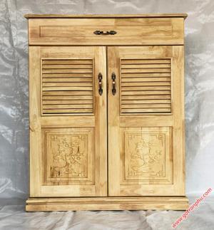Tủ dép gỗ cao su 2 cánh 1 ngăn kéo 80cm