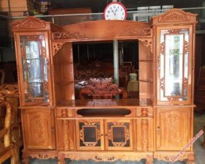 Tủ tv phòng khách gỗ gõ đỏ