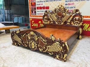 Giường gỗ dát vàng Siêu Vip gỗ gõ đỏ