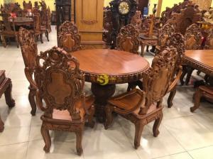 ???? Bộ bàn ăn mặt tròn nguyên tấm (120cmx14cm) mẫu VIP