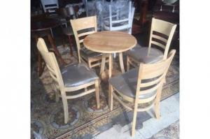 Bàn ghế cafe cabin gỗ cao su AK03