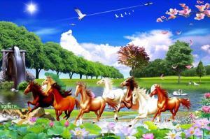 Tranh gạch men 3d 8 con ngựa- 45T
