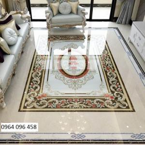 Gạch thảm 3d hoa văn lát phòng khách - 54F