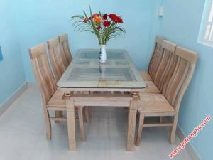 Bàn ăn gia đình gỗ sồi Nga 2 tầng 6 ghế