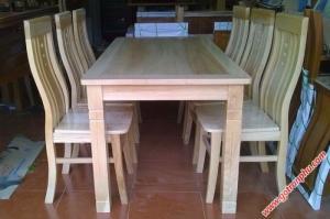 Bàn ăn đẹp gỗ sồi Nga 6 ghế BA051 mặt liền gỗ tự nhiên
