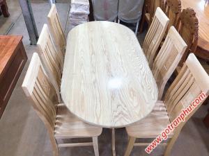 Bàn ăn giá rẻ hình oval gỗ sồi nga 6 ghế