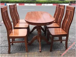 Bàn ăn gia đình gỗ sồi oval phun xoan 6 ghế