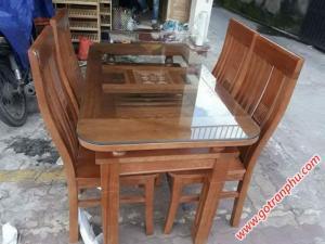 Bàn ăn giá rẻ gỗ sồi phủ xoan 4 ghế 2 tầng