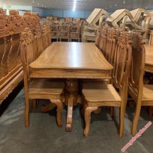 Bàn ăn đẹp gỗ gõ đỏ hình chữ nhật 8 ghế