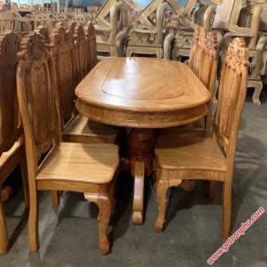 Bàn ghế ăn gỗ gõ đỏ hình bầu dục 8 ghế