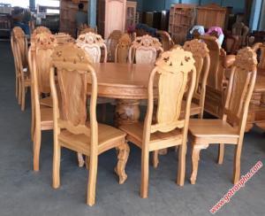 Bàn ăn tròn gỗ gõ đỏ hình tròn 8 ghế
