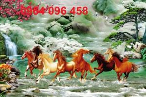 Tranh ngựa 3d sứ ngọc - 78E