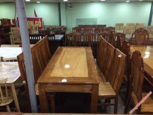 Bộ bàn ghế ăn gỗ căm gõ 8 ghế hình chữ nhật