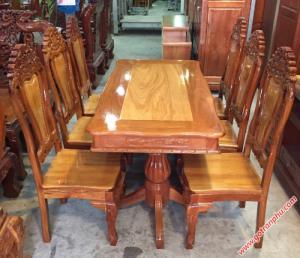 Bàn ghế ăn gỗ căm gõ 6 ghế hình bánh tây