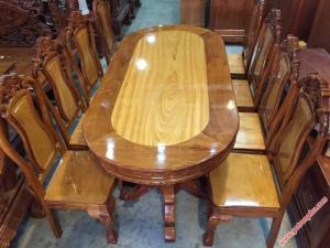 Bàn ghế ăn giá rẻ gỗ căm gõ 8 ghế hình bầu dục