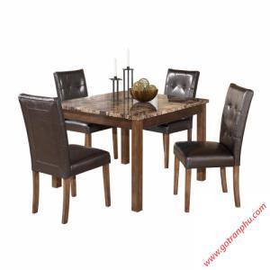 Bàn ăn mặt đá gỗ cao su 4 ghế