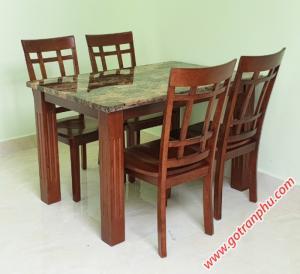 Bộ bàn ăn mặt đá gỗ cao su 4 ghế