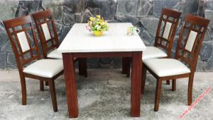 Bộ bàn ăn đẹp 4 ghế gỗ cao su