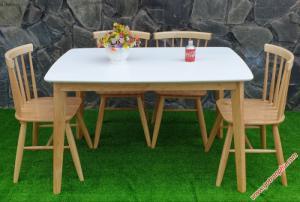 Bộ bàn ăn gỗ tự nhiên gỗ cao su 4 ghế cao cấp