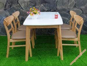 Bộ bàn ăn đẹp gỗ cao su 4 ghế cao cấp