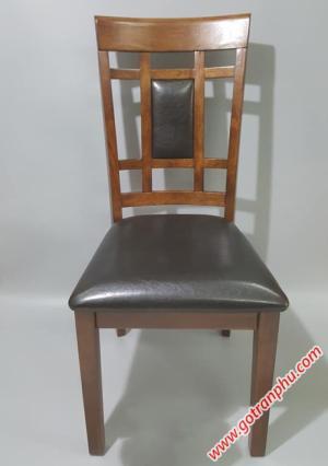 Ghế bàn ăn đẹp gỗ cao su nhập khẩu cao cấp (bọc da)