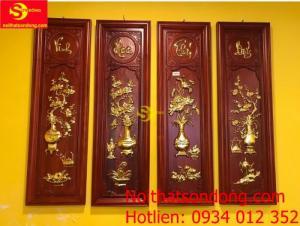 Tranh Vinh hoa phú quý gỗ hương dát vàng cao 1m
