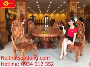 Bộ bàn ăn cổ điển 8 ghế mặt ovan nguyên tấm