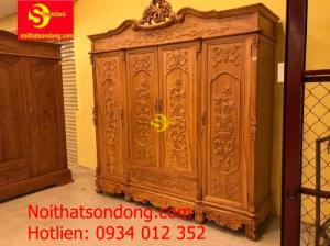 Tủ quần áo gỗ gõ đỏ 3 buồng 4 cánh 2.2m chạm giỏ hoa hồng cổ điển VIP