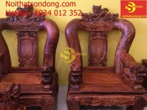 Bộ bàn ghế nghê đỉnh gỗ cẩm lai tay 20 – BBG899
