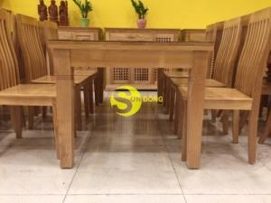 Bàn ăn gỗ sồi chữ nhật Lớn 6 ghế giá rẻ tại TPHCM