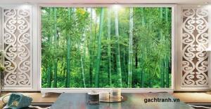 Tranh dán tường 3d rừng tre trúc