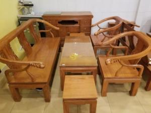 Bộ bàn ghế móc thúng mặt liền gỗ cao cấp