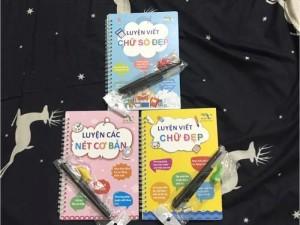 Set 3 quyển luyện viết kèm bút tự xoá