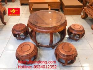Bộ bàn ghế kiểu trống gỗ hương 7 món – BBG1111