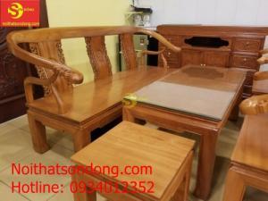 Bộ bàn ghế móc thúc mặt liền gỗ gõ đỏ